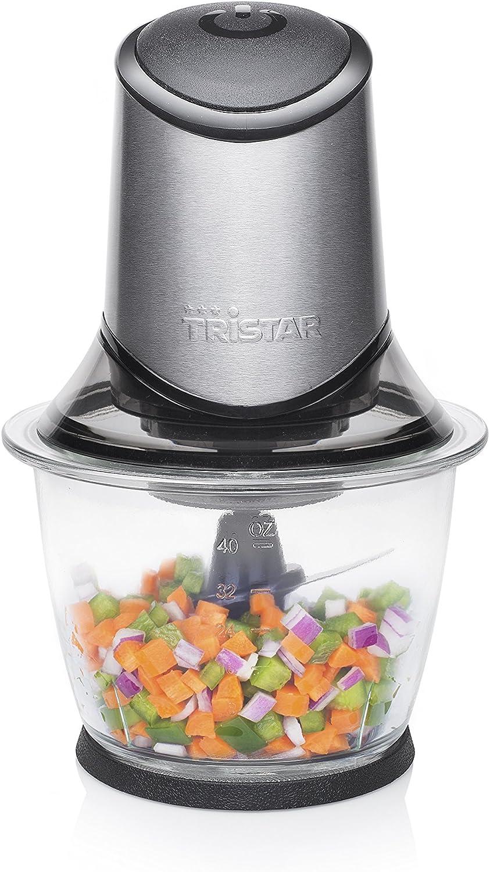 Tristar BL-4019 Picadora eléctrica de alimentos, 4 Hojas de Acero Inoxidable, Bol de Cristal con indicador de nivel de 1.2 L, picadora de cocina para carne, verdura, fruta y hielo, 400 W