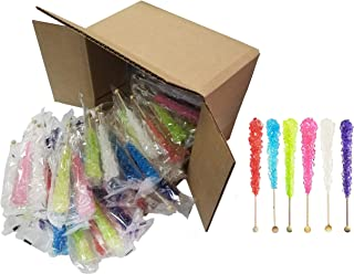 Rock Candy Sticks Assorted Case 48 Count - Vibrant Colors for Rainbow Candy Buffets Stations Tables