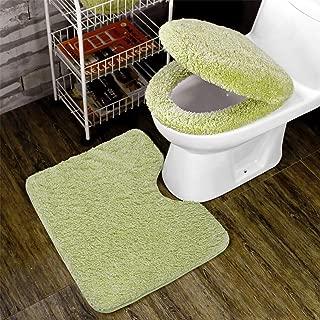 トイレ 3点セット 便座カバー U型O型トイレ兼用フタカバー ト 足元マット フワフワ 防寒 吸水 速乾 ライトグリーン