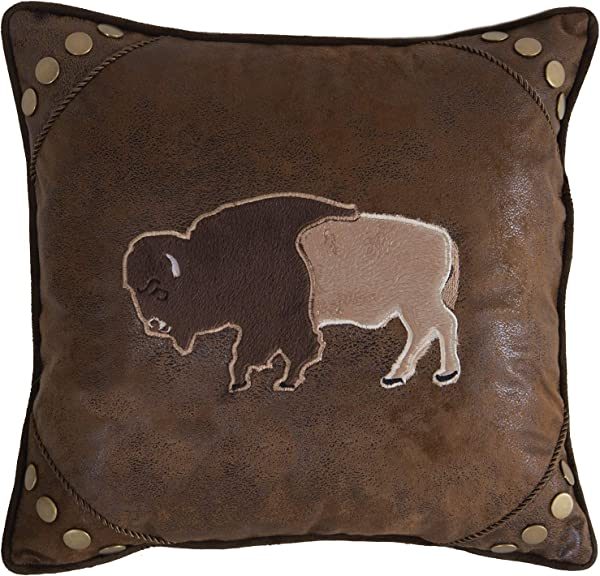 Carstens Inc Carstens Wrangler Faux Leather Buffalo 18x18 Throw Pillow Brown