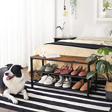 VASAGLE Shoe Bench, Shoe Rack with 2 Mesh Shelves, Shoe Storage Organizer for Entryway Hall, Metal, Industrial, Rustic Brown