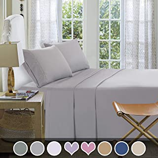 Loom & Mill Microfiber Bedding Sets - New Design Extra Soft 1800 Series Bed Sheet Set - Deep Pocket, Wrinkle, Fade, Stain Resistant, Hypoallergenic - 4 Piece(Full, Light Grey-Greek Key)