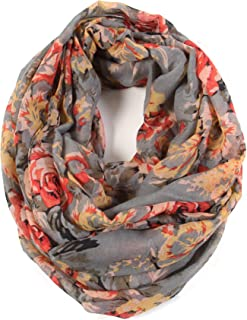 Scarfand's Romantic Rose Flower Print Lightweight Infinity Fashion Scarf & Head Wrap