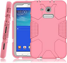 Hocase Galaxy Tab E Lite 7.0 (2016) Case, Rugged Heavy Duty Kids Proof Protective Case for Galaxy Tab E Lite 7.0 SM-T113NDWAXAR/SM-T113NYKAXAR - Light Pink/Grey