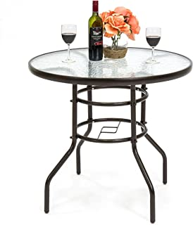 Best Choice Products Round 32-inch Tempered Glass Patio Dining Bistro Table w/Umbrella Hole, Dark Brown
