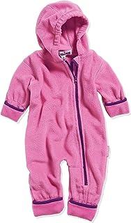Playshoes Baby Fleece-Overall, atmungsaktiver Unisex-Jumpsuit für Jungen und Mädchen mit langem Reißverschluss und Kapuze, farbig abgesetzt
