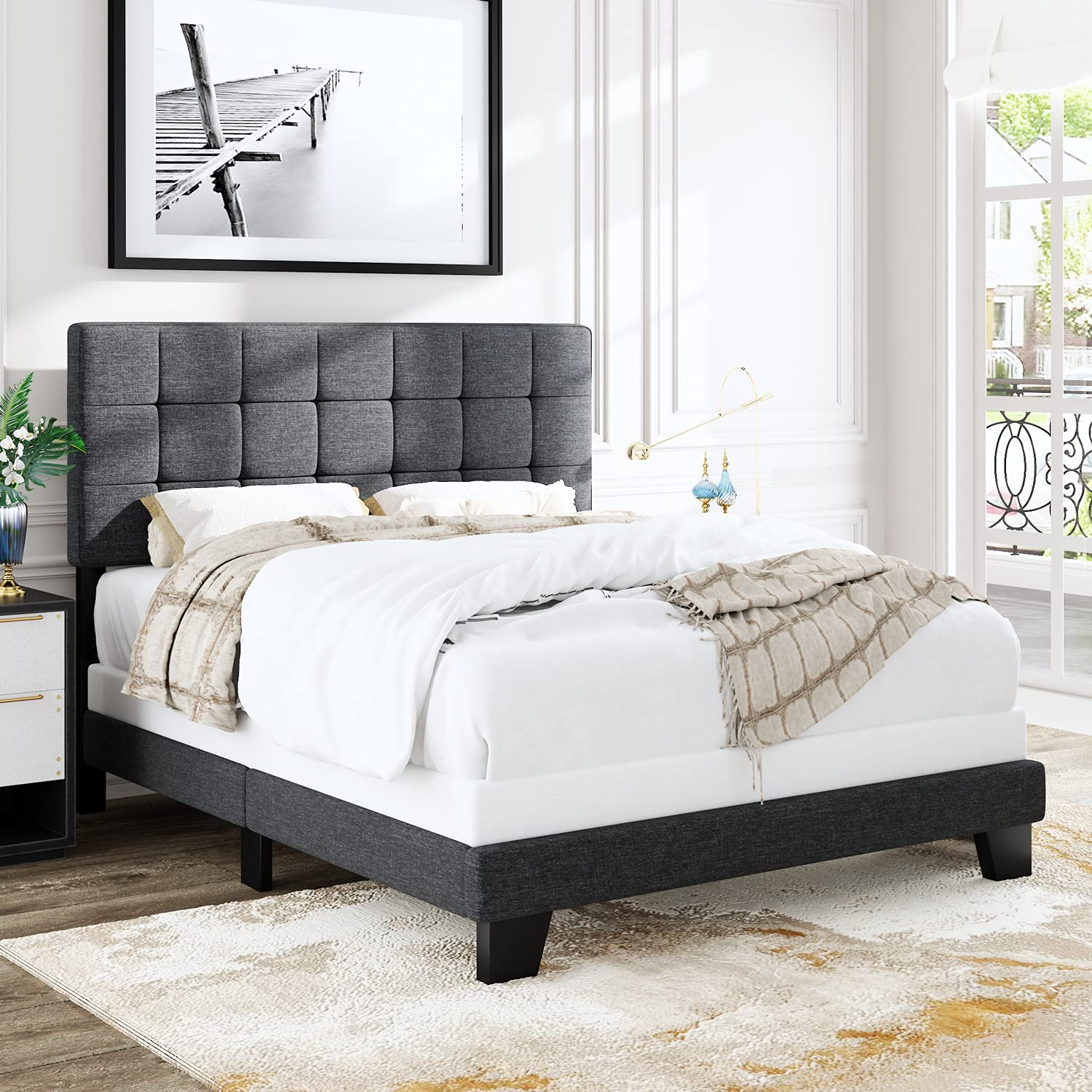 Finally popular Max 50% OFF brand Allewie Queen Size Panel Bed Headboard Adjustable for Frame with