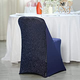 Efavormart Navy Blue Spandex Stretch Folding Chair Cover with Metallic Glittering Back for Wedding Party Banquet Catering