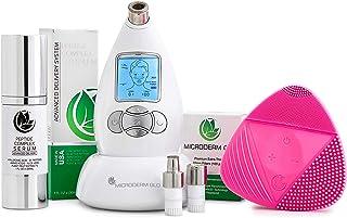 بسته بندی کامل لوازم بهداشتی میکرودرم GLO شامل سیستم میکرودرم ابریژن الماس ، پریمیوم ، ریز ، نکات ماساژ ، فیلترهای 10 میلیمتری 100 بسته ، سرم پپتید مجتمع و برس تمیز کننده صورت (سفید)