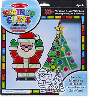 Melissa & Doug Stained Glass Made Easy Activity Kit, Santa & Tree (Arts and Crafts, Develops Problem Solving Skills, 50+ Stickers, Great Gift for Girls and Boys - Best for 5, 6, 7 Year Olds and Up)