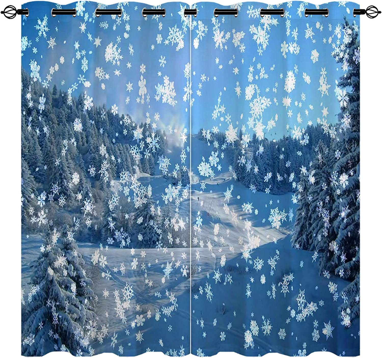 EiiChuang Snowflake 未使用 Curtains 大幅にプライスダウン Thermal Insulated Curtain Blackout