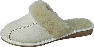 38 Pantolette WARME Hausschuhe Weiß Kunst Leder+Schurrwolle GR.37