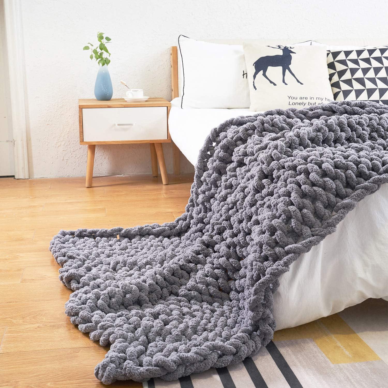 Comtest Chunky 訳あり品送料無料 Knit Blanket Handmade Soft Cozy Throw and 返品送料無料