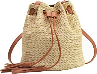 Women's Small Drawstring Straw Crossbody Bag with Tassel Bucket Bag Beach Woven Straw Shoulder Purse