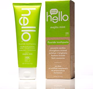 Hello Oral Care SLS Free Fluoride Toothpaste, Mojito Mint, 5 Ounce