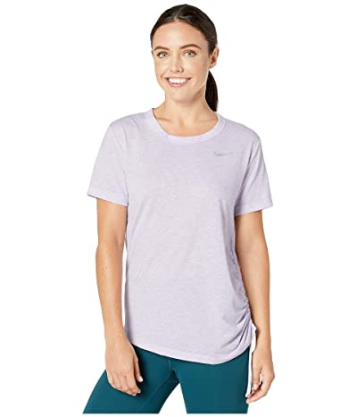 Nike Miler Top Short Sleeve Cinched (Lavender Mist/Heather/Reflective Silver) Women