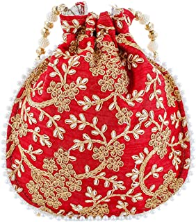 Heart Home Ethnic Clutch Silk Potli Batwa Pouch Bag with Beadwork Gift for Women (Maroon) - CTHH013593
