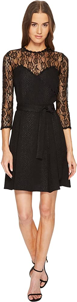 The Kooples - Jacquard Dress with Lace Details and Braid