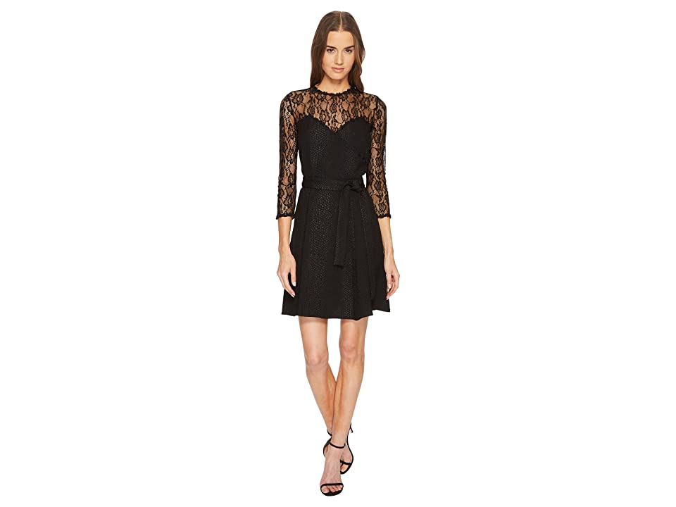 The Kooples Jacquard Dress with Lace Details and Braid (Black) Women