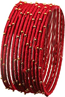 Touchstone New Silk Thread Bangle Collection Indian Bollywood Handcrafted Faux Silk Thread Exotic Look with Golden Beads Designer Bangle Bracelets Set of 12 for Women.