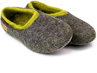 b9a9aeb6a25b Gray Felted Wool Slippers For Men with Green Inner Layer Handmade in Europe