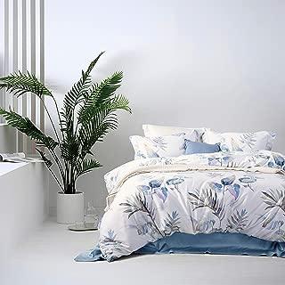 MILDLY Duvet Cover Set King Size Soft Cotton Original Design Floral Botanical Printed Pattern 3 Pieces Bedding Set, Aesop