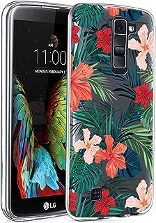 LG K10 Case, LG Premier LTE L62VL L61AL Case with Flowers, BAISRKE Slim Shockproof Clear Floral Pattern Soft Flexible TPU Back Cove for LG K10 MS428 K428SG [Palm Tree Leaves]
