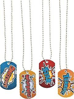 Fun Express - Super Hero Dog Tag Necklace - Jewelry - Necklaces - Dog Tag Necklaces - 12 Pieces