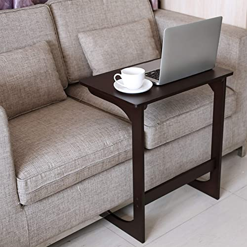 HOMFA Bamboo Sofa Couch Coffee End Table Laptop Desk Snack C Table Bed Side Table Modern Furniture for Home Office, Dark Brown