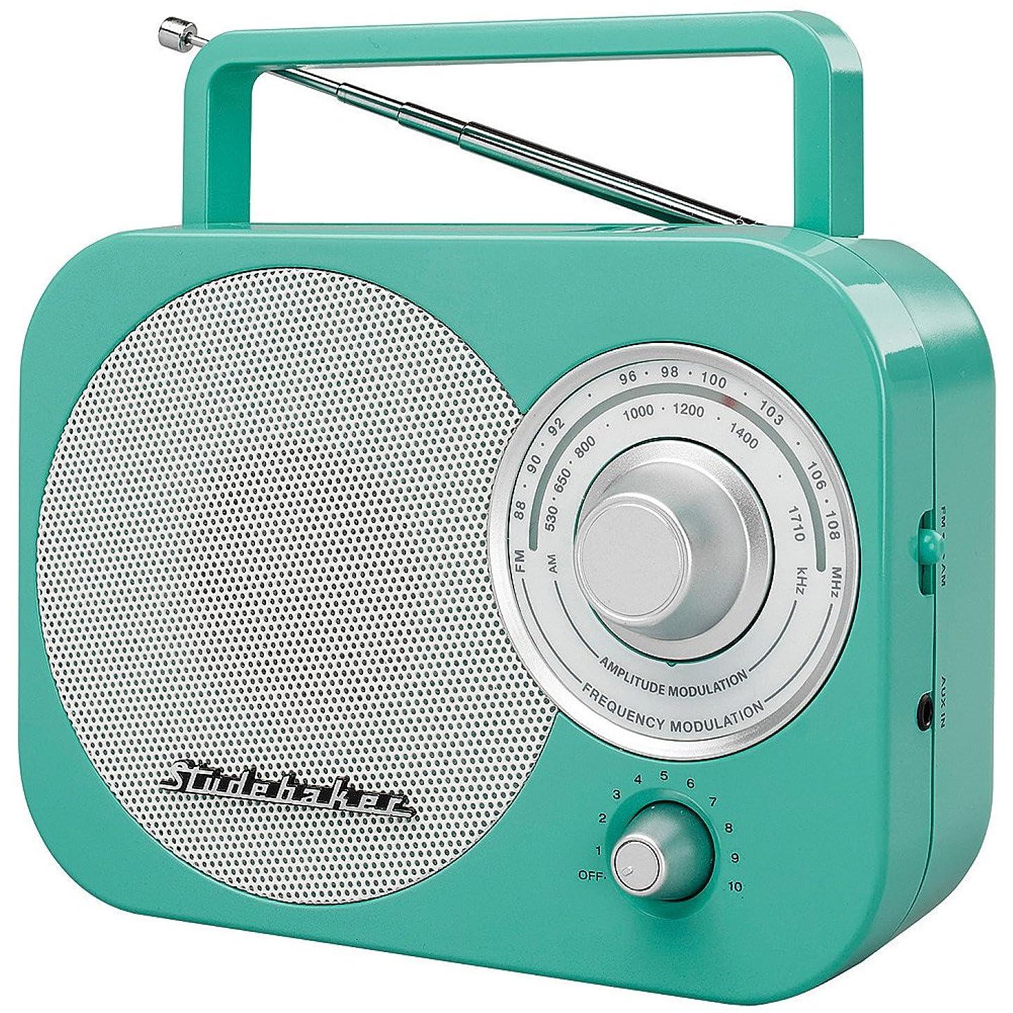 Studebaker Portable Am FM Radio Teal - SB2000 Analog Replica Retro Styled cfdjh100066