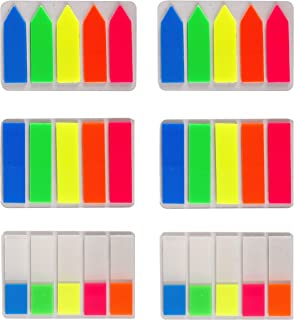 Lysas 600 pcs Neon Page Markers- Colored Page Index Tabs Flags Dispensers for Pages Mark, Assorted Fluorescent Bright Color Book Markers& Sticky Notes Memo, Great for Highlight Key Points, 6 Sets