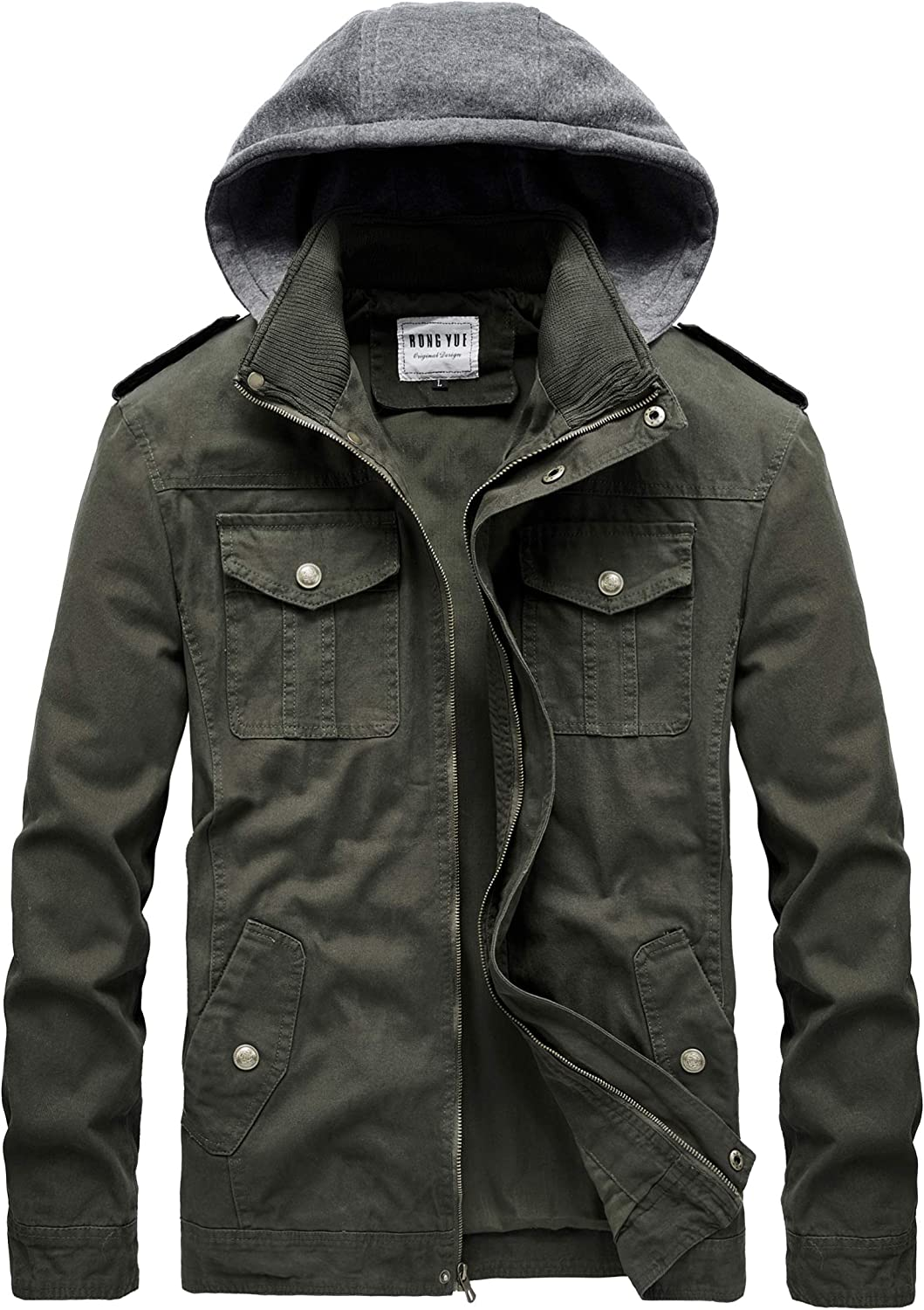 RongYue Men's Large-scale sale Casual Cotton Military Jacket Max 78% OFF with Windbreaker Rem