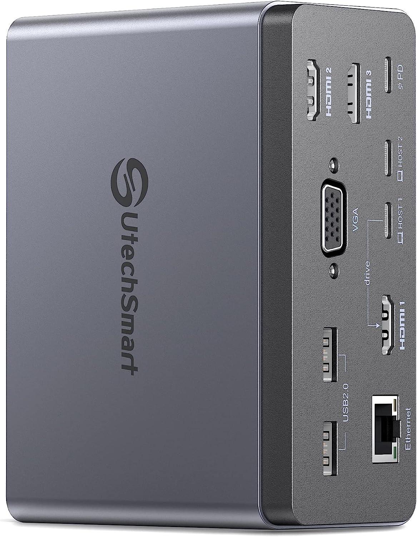 Docking Station,UtechSmart 19 in 1 Quadruple Display Laptop USB C Docking Station,USB C Hub Dock 3 HDMI Adapter for MacBook&Windows (3 HDMI,VGA,PD 3.0,Ethernet,SD/TF Card Reader,Audio,6 USB Ports)