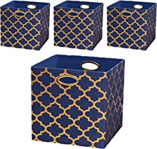 Posprica Storage Bins, Storage Cubes Baskets Boxes Containers Closet Organizers,More Durable Fabric Drawers, Navy/Gold Lan...