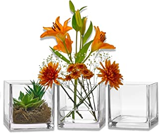 PARNOO Set of 3 Glass Square Vases 6 x 6 Inch – Clear Cube Shape Flower Vase, Candle Holders - Perfect as a Wedding Centerpieces, Home Decoration