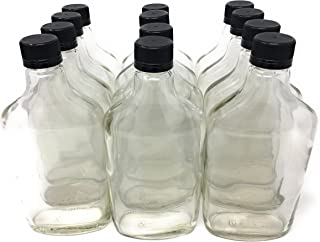 375 ml (12.7 oz) Glass Flask Liquor Bottle with Black Caps (12 Pack)