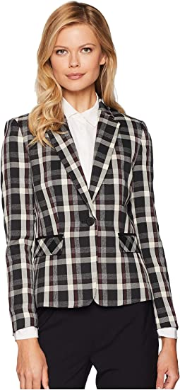 Novelty Plaid One-Button Jacket