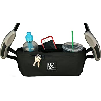 J.L. Childress Cargo 'N Drinks Parent Tray, Universal Stroller Organizer with Insulated Cup Holders, Folds into Stroller, Easy Velcro Attachment, Black