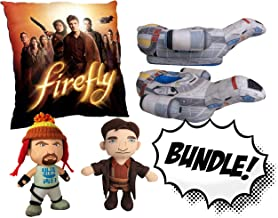 Golden Groundhog Limited Edition Firefly Fan Pack Lot Bundle Featuring - 1 Malcolm Reynolds Plush - 1 Jayne Cobb Plush - 1 Firefly Crew Pillow - 1 Pair of Firefly Serenity Plush House Slippers!