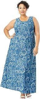 Jessica London Women`s Plus Size Denim Maxi Dress