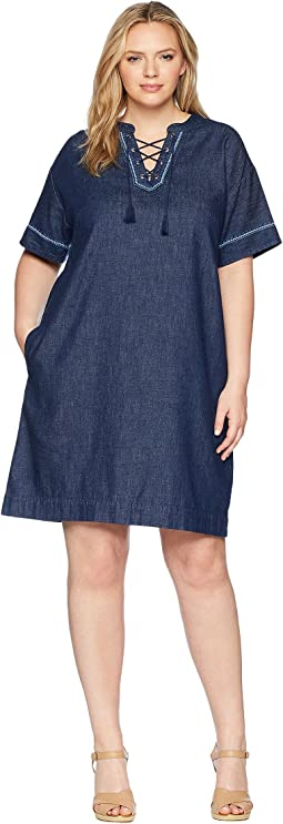 Plus Size Lace-Up Denim Shift Dress
