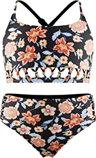 Girls 2 Piece Swimsuits Bikini Set, Kids Tankini Bathing Suits with Crisscross Straps Floral Beachwear M Black