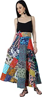 Crocon Indian Vintage Sari Assorted Patches Gypsy Skirt Maxi Long Cotton Boho Floral Flared Vintage Retro Skirt