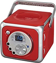 Jensen CD-555 Red CD Bluetooth Boombox Portable Bluetooth Music System with CD Player..