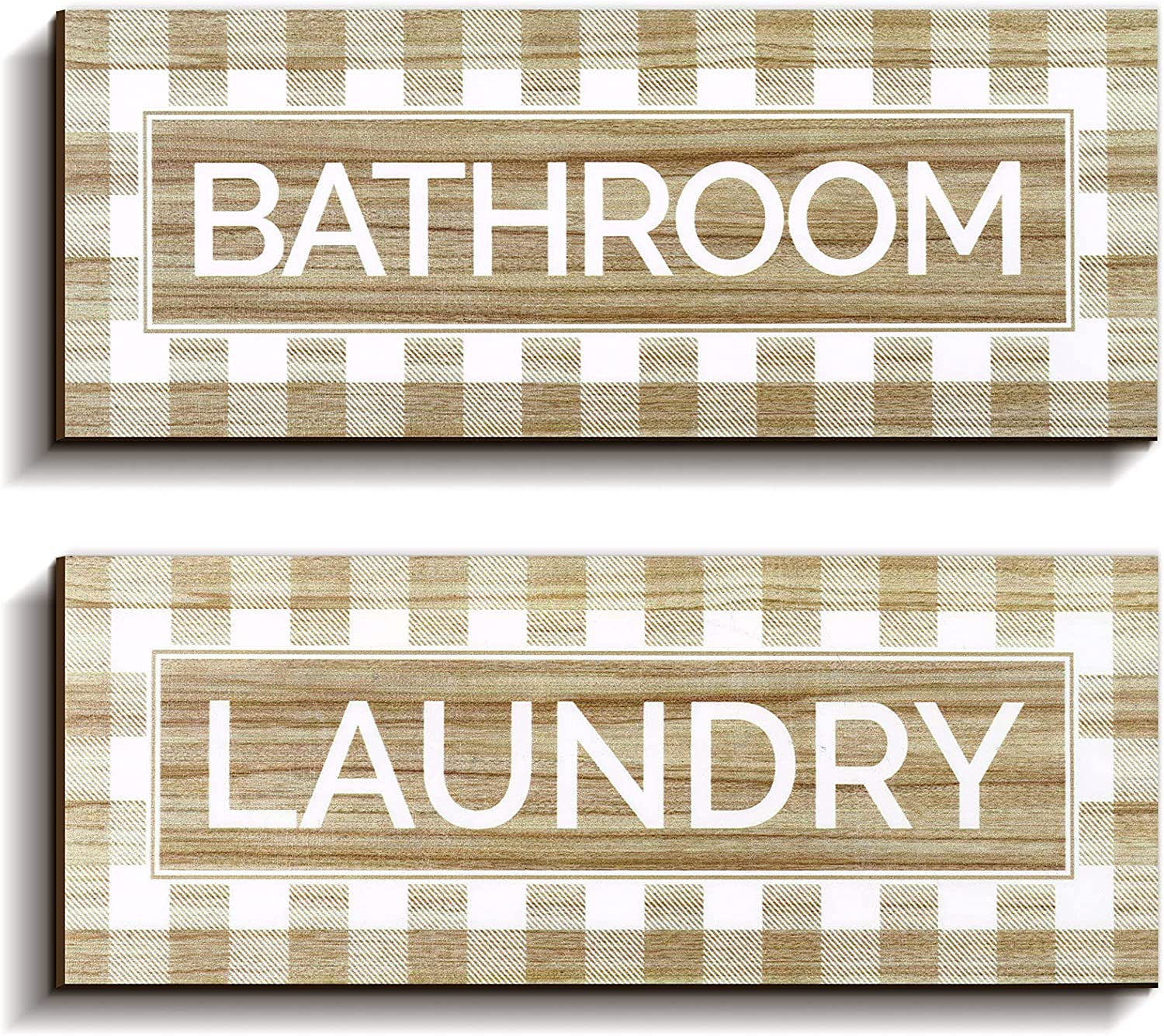 Jetec 2 Pieces Laundry and Bathroom Buffalo Plaid Wooden Sign Wall Decor Vintage Farmhouse Style Kitchen Decorative Rustic Wall Decor for Home Kitchen Restaurant, 14 x 5.5 x 0.2 Inch, Brown