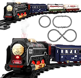 iBaseToy Toy Train Set, Electric Play Train Set with Steam, Light & Sound Battery Operated Train Model Motorized Train Rai...