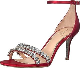 Jewel Badgley Mischka Women's MELANIA Sandal, red satin, M100 M US