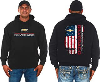 JH DESIGN GROUP Men's Chevy Silverado Distressed Logos 2-Sided Pullover Hoodie