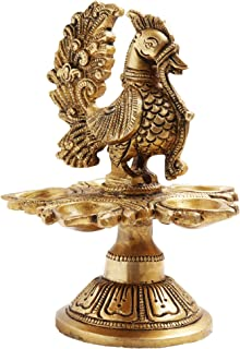 HANDCRAFTEDININDIA India Brass Diya for Puja - Oil lamp Stand Pooja - Peacock Design Five Step Deepak for Home Temple Articles Decor Gifts
