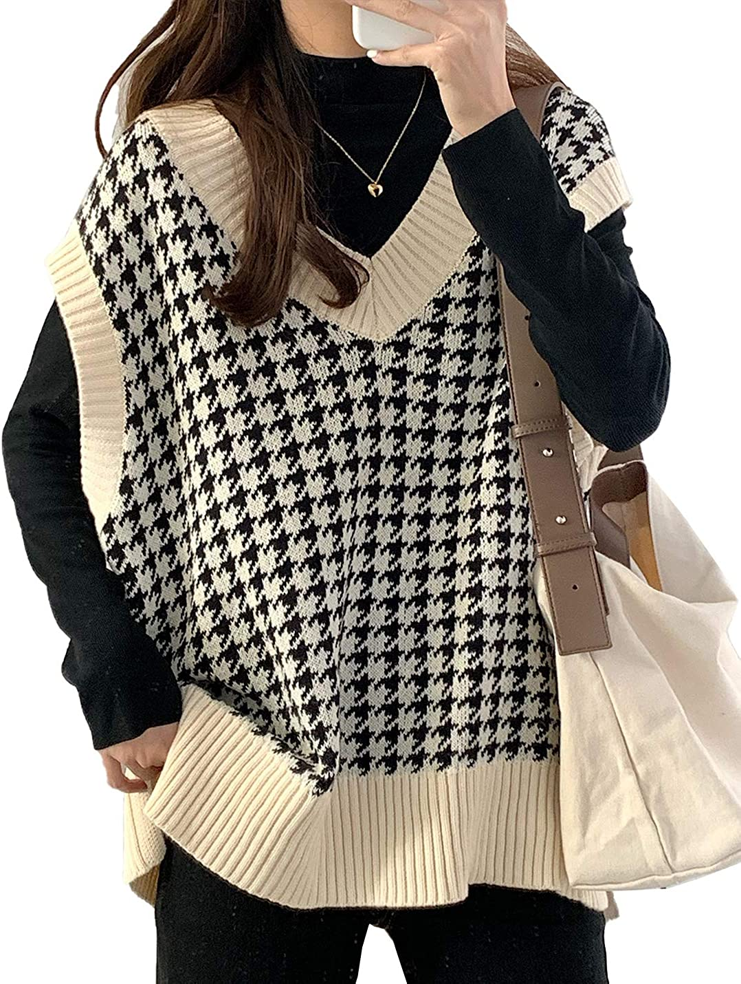 PEHMEA Women's Knitted Cotton V Neck Sleeveless Houndstooth Sweater Vest Casual Pullover Waistcoat Tops